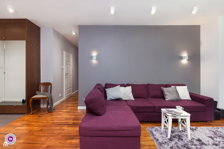 Kobalt z fuksją - realizacja - Średni szary biały salon, styl nowoczesny - zdjęcie od Fabryka Nastroju Izabela Szewc - Homebook