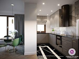 Mieszkanie w stylu glamour - Średnia otwarta biała szara kuchnia w kształcie litery l z oknem, styl tradycyjny - zdjęcie od Fabryka Nastroju Izabela Szewc