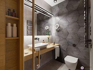 Kawalerka z heksagonem - Mała szara łazienka na poddaszu w bloku w domu jednorodzinnym bez okna, styl nowoczesny - zdjęcie od Fabryka Nastroju Izabela Szewc