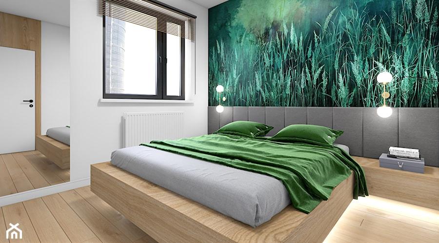 Drewno i zieleń - Średnia biała sypialnia małżeńska, styl nowoczesny - zdjęcie od Fabryka Nastroju Izabela Szewc