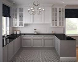 Stylowe szarości - Średnia otwarta biała kuchnia w kształcie litery u w aneksie, styl klasyczny - zdjęcie od Fabryka Nastroju