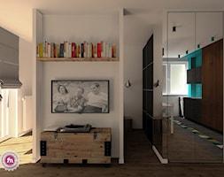 Kawalerka dla hipstera - Mały biały salon z jadalnią, styl industrialny - zdjęcie od Fabryka Nastroju