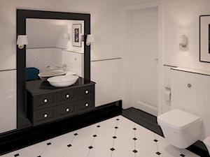 Stylowe szarości - Średnia biała łazienka na poddaszu w domu jednorodzinnym, styl klasyczny - zdjęcie od Fabryka Nastroju Izabela Szewc