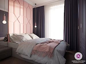 Mieszkanie w stylu glamour - Mała różowa czarna sypialnia małżeńska, styl nowojorski - zdjęcie od Fabryka Nastroju Izabela Szewc