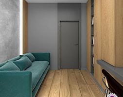 Dom z betonem - Małe szare biuro kącik do pracy w pokoju, styl minimalistyczny - zdjęcie od Fabryka Nastroju Izabela Szewc
