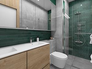 Drewno i zieleń - Średnia łazienka w bloku w domu jednorodzinnym bez okna, styl skandynawski - zdjęcie od Fabryka Nastroju Izabela Szewc