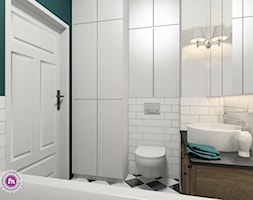 Artystycznie na Żoliborzu - Mała zielona łazienka w bloku w domu jednorodzinnym bez okna, styl vintage - zdjęcie od Fabryka Nastroju Izabela Szewc