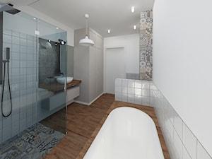 Segment na Bielanach - Średnia biała szara łazienka bez okna, styl art deco - zdjęcie od Fabryka Nastroju Izabela Szewc