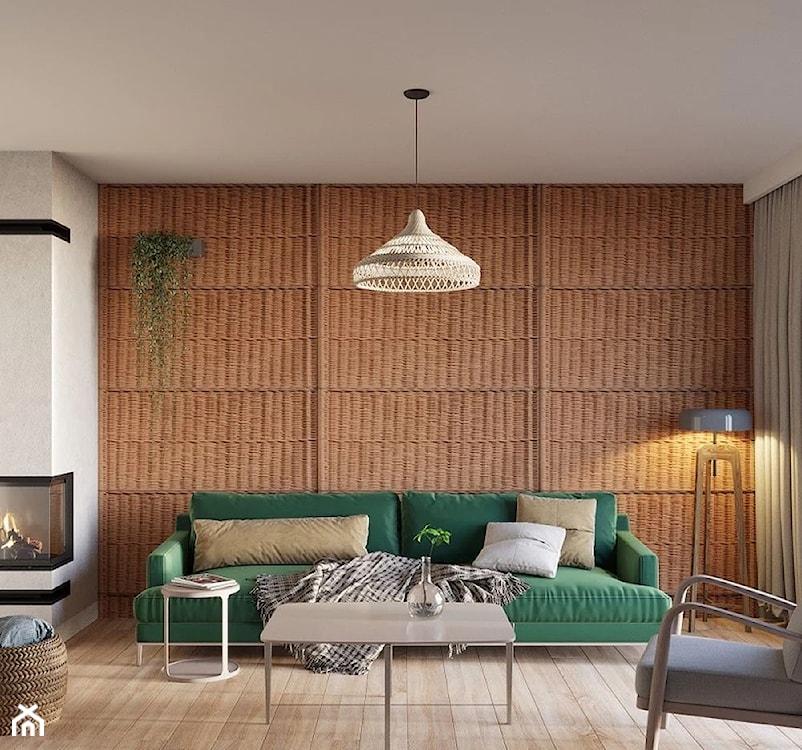 wiklinowa ściana w salonie