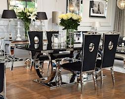 Stół i krzesła do jadalni ze stali w stylu Glamour i Nowoczesnym - Średnia otwarta biała jadalnia w salonie, styl nowojorski - zdjęcie od PRIMAVERA-HOME.COM