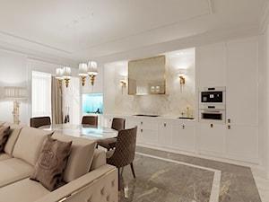 Salon w stylu Glamour - meble i żyrandole złote - Duża otwarta biała kuchnia jednorzędowa w aneksie z oknem, styl glamour - zdjęcie od PRIMAVERA-HOME.COM