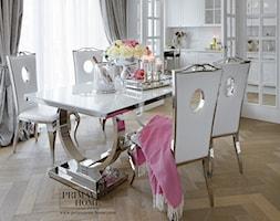 Apartament w stulu Glamour - luksusowe wnetrza: salon, sypialnia, kuchnia, łazie - Średnia otwarta biała jadalnia jako osobne pomieszczenie, styl glamour - zdjęcie od PRIMAVERA-HOME.COM