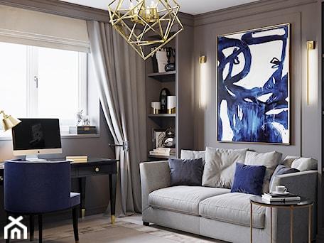 Aranżacje wnętrz - Salon: Meble tapicerowane na zamówinie w stylu nowojorskim i glamour - Mały szary salon z bibiloteczką, styl nowojorski - PRIMAVERA-HOME.COM. Przeglądaj, dodawaj i zapisuj najlepsze zdjęcia, pomysły i inspiracje designerskie. W bazie mamy już prawie milion fotografii!