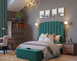 Meble tapicerowane na zamówinie w stylu nowojorskim i glamour - Średnia szara sypialnia małżeńska na poddaszu, styl nowojorski - zdjęcie od PRIMAVERA-HOME.COM