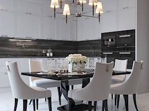 Meble tapicerowane na zamówinie w stylu nowojorskim i glamour - Średnia otwarta biała jadalnia w kuchni, styl glamour - zdjęcie od PRIMAVERA-HOME.COM