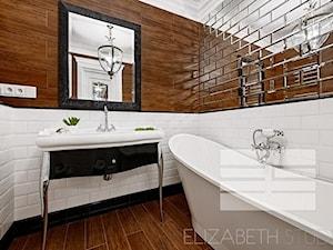 Wnętrza w stylu MOdern Classic - Mała biała brązowa łazienka na poddaszu w bloku w domu jednorodzinnym bez okna, styl glamour - zdjęcie od PRIMAVERA-HOME.COM
