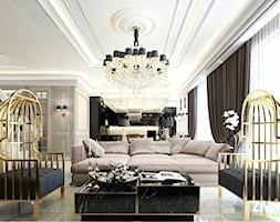 Wnętra Glamour ze złotymi meblami ze stali oraz tapicerowanymi na zamówienie - Duży beżowy salon z kuchnią, styl nowoczesny - zdjęcie od PRIMAVERA-HOME.COM