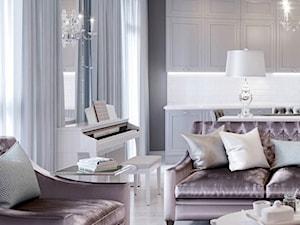 Meble na zamówinie w stylu Glamour i Nowojorskim - Średni szary biały salon z kuchnią z jadalnią, styl nowojorski - zdjęcie od PRIMAVERA-HOME.COM