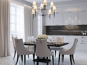 Meble tapicerowane na zamówinie w stylu nowojorskim i glamour - Średnia otwarta biała jadalnia w kuchni, styl nowojorski - zdjęcie od PRIMAVERA-HOME.COM