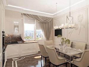 Złote meble i oświetlenie w salonie i sypialni w stylu Glamour i nowojorskim - Średnia otwarta beżowa jadalnia w kuchni, styl nowojorski - zdjęcie od PRIMAVERA-HOME.COM