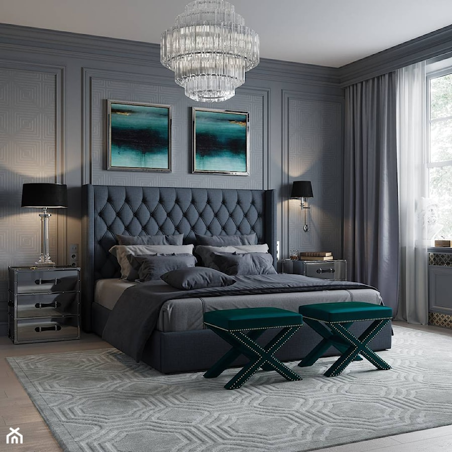 Aranżacje wnętrz - Sypialnia: Meble tapicerowane na zamówinie w stylu nowojorskim i glamour - Średnia szara sypialnia małżeńska, styl glamour - PRIMAVERA-HOME.COM. Przeglądaj, dodawaj i zapisuj najlepsze zdjęcia, pomysły i inspiracje designerskie. W bazie mamy już prawie milion fotografii!