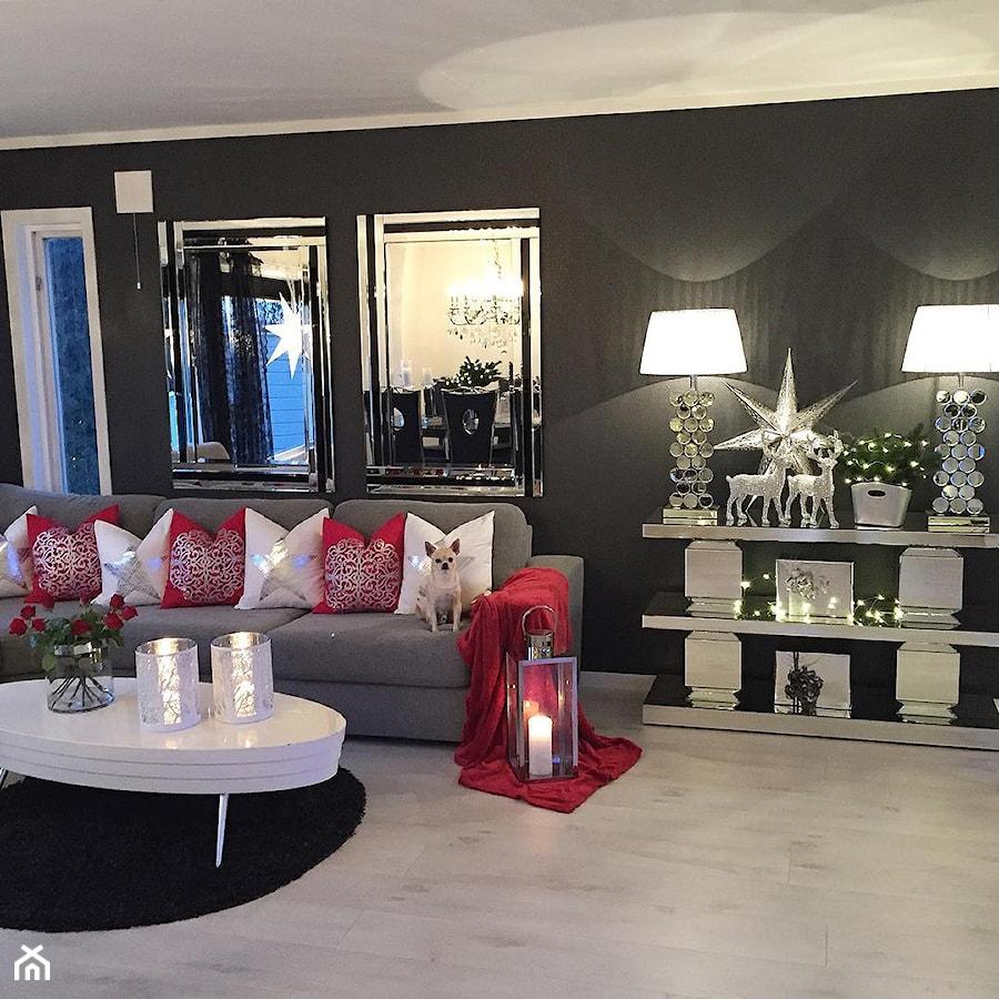 Salon w stylu Glamour - Duży szary salon z jadalnią, styl glamour - zdjęcie od PRIMAVERA-HOME.COM