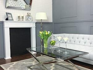 Salon w stylu Glamour - Średni szary beżowy salon, styl nowojorski - zdjęcie od PRIMAVERA-HOME.COM