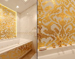 Łazienka w stylu Glamour z obrazem z mozaiki - Średnia biała kolorowa łazienka w bloku w domu jednorodzinnym bez okna, styl glamour - zdjęcie od PRIMAVERA-HOME.COM