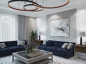 Meble tapicerowane na zamówinie w stylu nowojorskim i glamour - Duży szary biały salon, styl nowojorski - zdjęcie od PRIMAVERA-HOME.COM