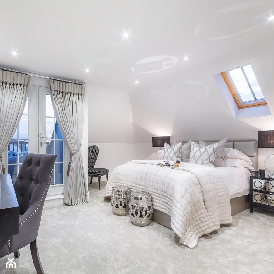 Nowoczesne Wnętrza W Beżowych Barwach Duża Biała Sypialnia