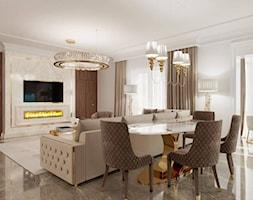 Salon i Jadalnia Glamour - meble złote stalowe - zdjęcie od PRIMAVERA-HOME.COM