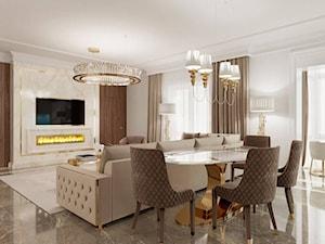 Salon w stylu Glamour - meble i żyrandole złote