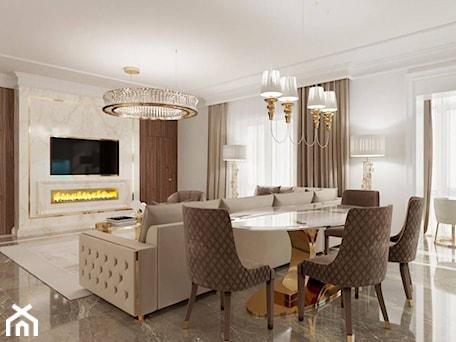 Aranżacje wnętrz - Salon: Salon i Jadalnia Glamour - meble złote stalowe - PRIMAVERA-HOME.COM. Przeglądaj, dodawaj i zapisuj najlepsze zdjęcia, pomysły i inspiracje designerskie. W bazie mamy już prawie milion fotografii!