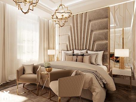 Aranżacje wnętrz - Sypialnia: Złote meble i oświetlenie w salonie i sypialni w stylu Glamour i nowojorskim - Średnia beżowa sypialnia dla gości, styl glamour - PRIMAVERA-HOME.COM. Przeglądaj, dodawaj i zapisuj najlepsze zdjęcia, pomysły i inspiracje designerskie. W bazie mamy już prawie milion fotografii!