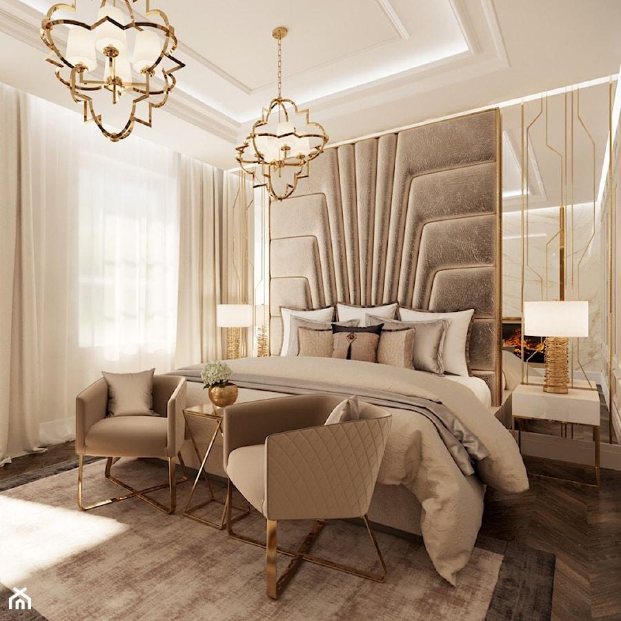 Złote Meble I Oświetlenie W Salonie I Sypialni W Stylu