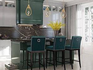 Meble tapicerowane na zamówinie w stylu nowojorskim i glamour - Średnia otwarta szara kuchnia jednorzędowa z oknem, styl nowojorski - zdjęcie od PRIMAVERA-HOME.COM