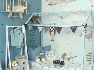 Tapeta pokój dziecięcy BALONY różowe+niebieskie 2 - zdjęcie od PRIMAVERA-HOME.COM