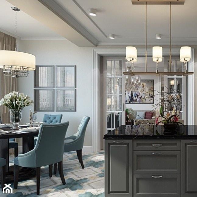 Meble tapicerowane na zamówinie w stylu nowojorskim i glamour - Duża otwarta szara jadalnia jako osobne pomieszczenie, styl nowojorski - zdjęcie od PRIMAVERA-HOME.COM