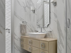 Apartament w stulu Nowojorskim i glamour - luksusowe wnetrza: salon, sypialnia - Mała biała łazienka na poddaszu w bloku w domu jednorodzinnym z oknem, styl nowojorski - zdjęcie od PRIMAVERA-HOME.COM