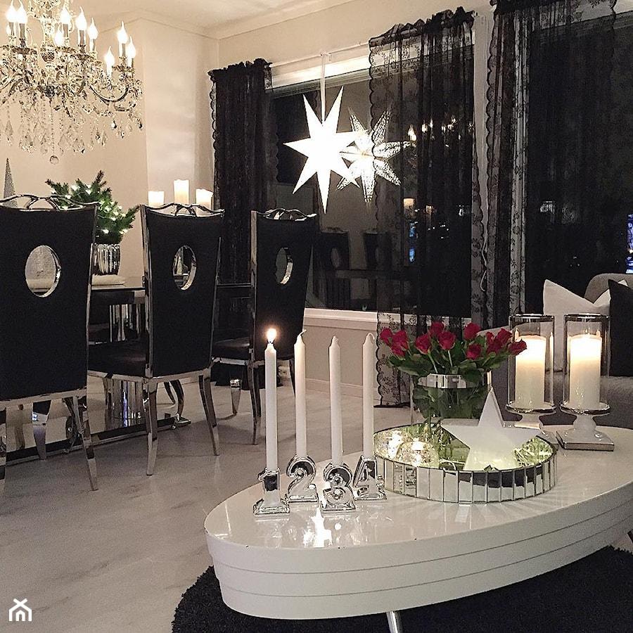 Salon w stylu Glamour - Mały biały salon z jadalnią, styl glamour - zdjęcie od PRIMAVERA-HOME.COM