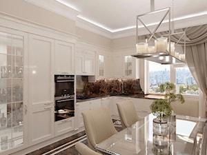 Złote meble i oświetlenie w salonie i sypialni w stylu Glamour i nowojorskim - Duża zamknięta beżowa kuchnia w kształcie litery l z oknem, styl glamour - zdjęcie od PRIMAVERA-HOME.COM