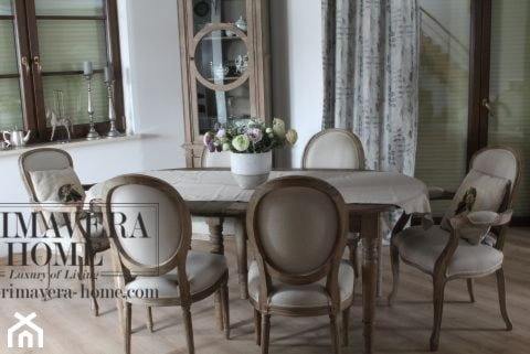 Wnętrza w stulu PROWANSALSKIM I SHABBY CHIC - Średnia biała jadalnia, styl prowansalski - zdjęcie od PRIMAVERA-HOME.COM