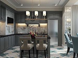 Wnętrza w stulu nowojorskim. Meble lustrzane i tapicerowane z naszej oferty. - Duża otwarta beżowa szara kuchnia w kształcie litery l, styl nowojorski - zdjęcie od PRIMAVERA-HOME.COM