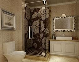 Duża beżowa łazienka w bloku w domu jednorodzinnym bez okna, styl klasyczny - zdjęcie od PRIMAVERA-HOME.COM