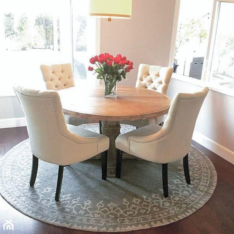 Aktualne Krzesło tapicerowane pikowane z kołatką do salonu szare TIFFANY MJ99