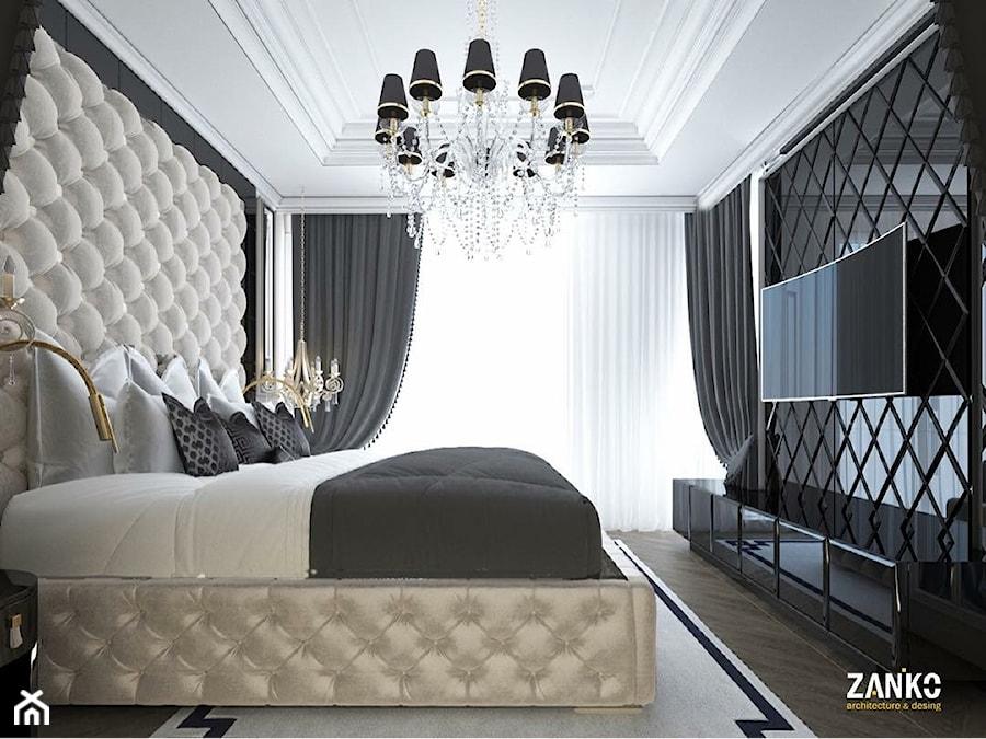 Wnętra Glamour ze złotymi meblami ze stali oraz tapicerowanymi na zamówienie - Duża beżowa czarna sypialnia małżeńska, styl nowojorski - zdjęcie od PRIMAVERA-HOME.COM