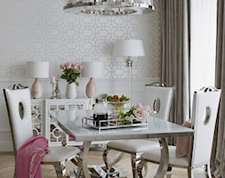 Apartament w stulu Glamour - luksusowe wnetrza: salon, sypialnia, kuchnia, łazie - Średnia otwarta biała jadalnia w salonie - zdjęcie od PRIMAVERA-HOME.COM