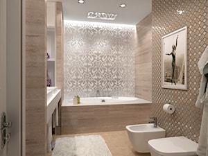 Wnętrza w stulu nowojorskim. Meble lustrzane i tapicerowane z naszej oferty. - Średnia łazienka w domu jednorodzinnym bez okna, styl glamour - zdjęcie od PRIMAVERA-HOME.COM