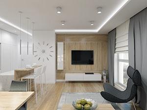 Nieoczywisty Glamour - Apartament Bakalarska Warszawa - Mały biały beżowy salon z kuchnią z jadalnią, styl glamour - zdjęcie od Creoline