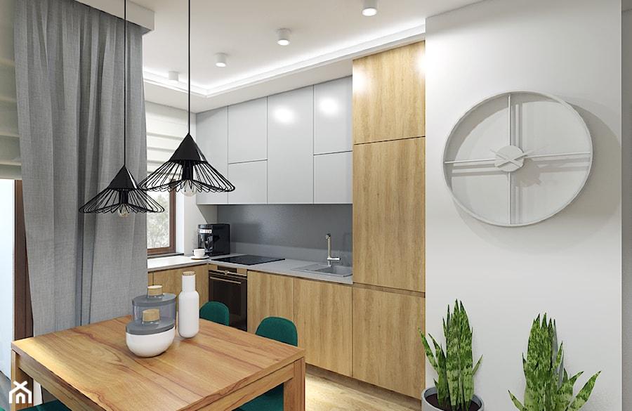 Barwy ziemi - Średnia otwarta biała szara kuchnia w kształcie litery l w aneksie z oknem, styl nowoczesny - zdjęcie od Creoline